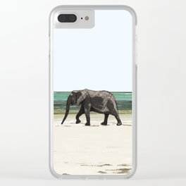Elephant walking on a beach of Zanzibar Clear iPhone Case
