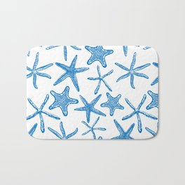 Sea stars in blue Bath Mat