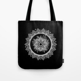 Bohemian Lace Paisley Mandala White on Black Tote Bag
