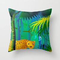 panther Throw Pillows featuring Panther by Nato Gomes