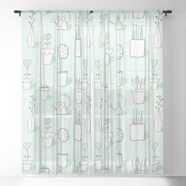 Garden Pots and Plants in Mint Green from Peppermint Creek Sheer Curtain