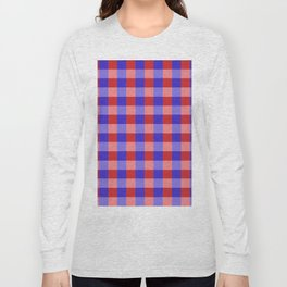 Red Blue and Pink Pretty Check Pattern Long Sleeve T-shirt
