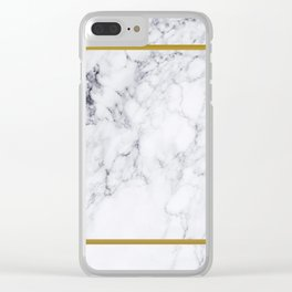 White Marble Gold Frame Clear iPhone Case