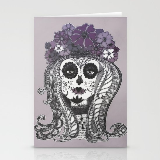 FLOWER CANDY SKULL Stationery Cards