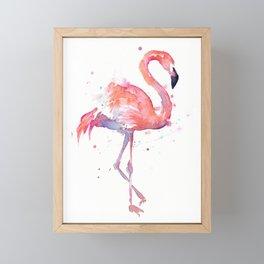 Pink Flamingo Watercolor Tropical Animals Bird Framed Mini Art Print