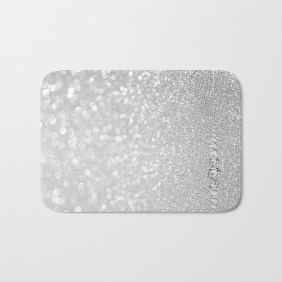 Diamonds are girls best friends III- Silver elegant glitter effect Bath Mat