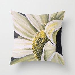 daisy flower acrylic painting Throw Pillow