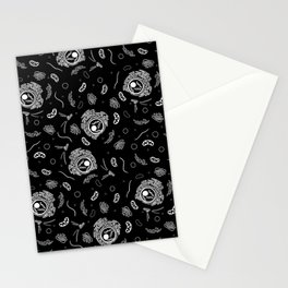 Organelles - White on Black Stationery Cards