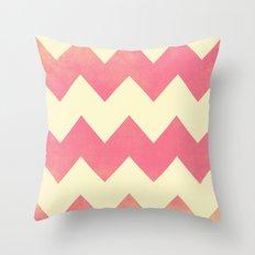 Raspberry Gold and Cream Textured Chevron Throw Pillow