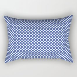 Dazzling Blue and White Polka Dots Rectangular Pillow
