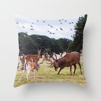 marauders Throw Pillows featuring Mr Prongs and other Marauders by Gioia De Antoniis