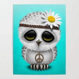 Cute Baby Owl Hippie Poster