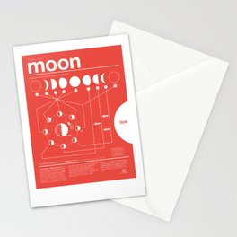 Phases of the Moon Infographic - RED Stationery Cards