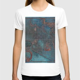 Antique Map Teal Blue and Copper T-shirt