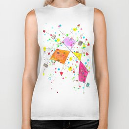 Abstract Arrows and Lines Watercolour Expressionist Art Biker Tank
