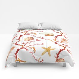 Shell & Coral Watercolor Pattern Comforters
