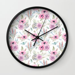 Mauve pink lilac green watercolor cactus roses floral Wall Clock