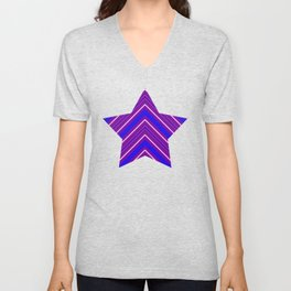 Modern Diagonal Chevron Stripes in Shades of Blue and Purple Unisex V-Neck