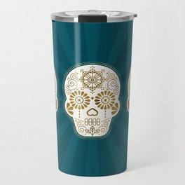 Día de Muertos Calavera • Mexican Sugar Skull – Teal & Bronze Palette Travel Mug