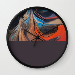 Abstract Painting Black Orange Gold Wall Clock