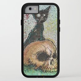 Black Cat with a Skull iPhone Case