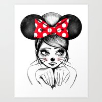 minnie mouse Art Prints featuring Minnie by theavengerbutterfly