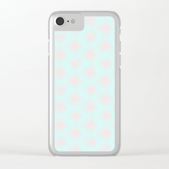 Merry christmas- pink snowflakes and snow on aqua backround I Clear iPhone Case