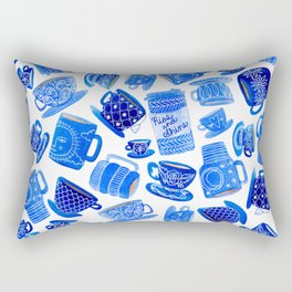 Coffee Mugs and Teacups - A study in blues Rectangular Pillow