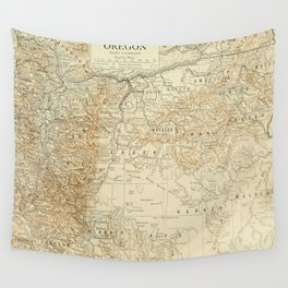 Vintage Map of Oregon (1911) Wall Tapestry