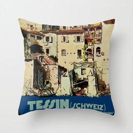 Vintage Tessin Schweiz - Ticino Switzerland Travel Throw Pillow