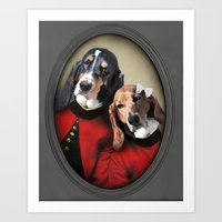 the hound Art Prints featuring Basset Hound - Hound Love by The Lonely Pixel
