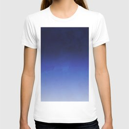 Modern navy blue watercolor ombre gradient fade T-shirt