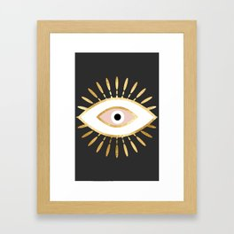 gold foil evil eye in blush Framed Art Print