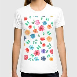Watercolor cornflower forget-me-not, rose peony green leaves pattern T-shirt