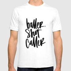Baller, Shot Caller Hand Lettering Mens Fitted Tee White SMALL