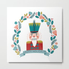 Nutcracker Christmas Floral Metal Print