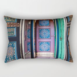 Moroccan painted doors and marble hallway in Marrakech, Morocco Rectangular Pillow