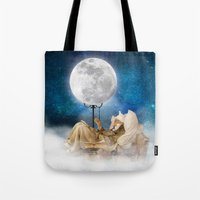 sandman Tote Bags featuring Good Night Moon by Diogo Verissimo