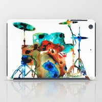 drums iPad Cases featuring The Drums - Music Art By Sharon Cummings by Sharon Cummings