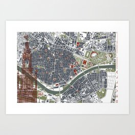 Seville city map engraving Art Print