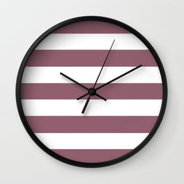Mauve taupe - solid color - white stripes pattern Wall Clock