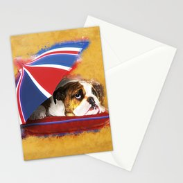 English Bulldog Puppy with umbrella Stationery Cards
