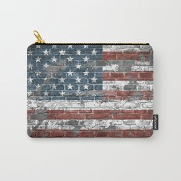 american flag on the brick Carry-All Pouch