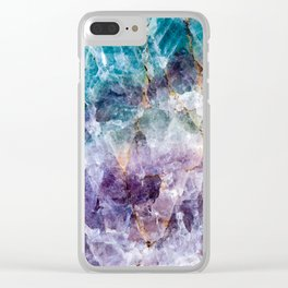 Turquoise & Purple Quartz Crystal Clear iPhone Case