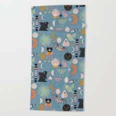 Lunar Pattern: Blue Moon Beach Towel