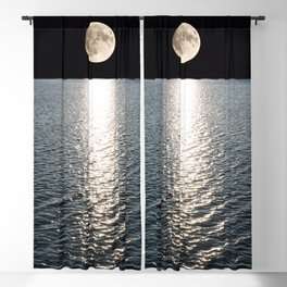 Ocean Moonlight | Moon Photography | Stars and Ocean | Night sky Blackout Curtain