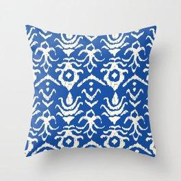 Blue Ikat Damask Print Throw Pillow
