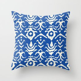Blue Ikat Damask Print Throw Pillow