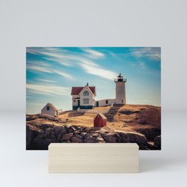 The Nubble Cape Neddick Lighthouse York Beach Maine New England Light Station Mini Art Print