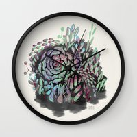 succulents Wall Clocks featuring Succulents by Carolina Búzio